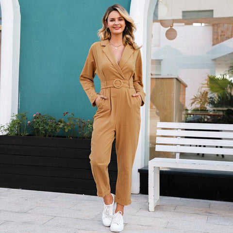 Brunette Bed of Roses Sash Belt Long Sleeve Jumpsuits