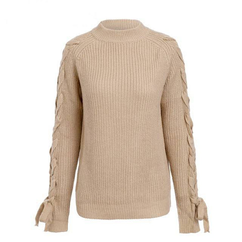 Laced-Up Layla Knitted Pullover - Couture Look