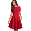 Romantic Hue Pin-up  Round Neck Cocktail Dress