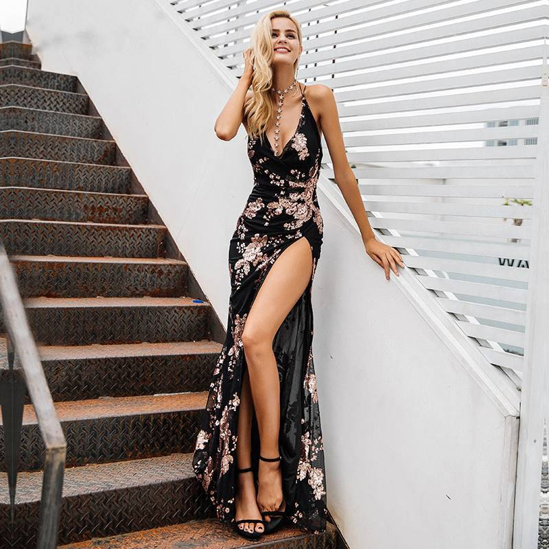 Martina  Halter Sequined High Slit Maxi Dress - Couture Look