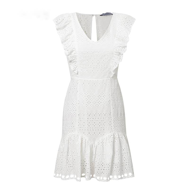 Simply Charming White Embroidered Summer Dress - Couture Look