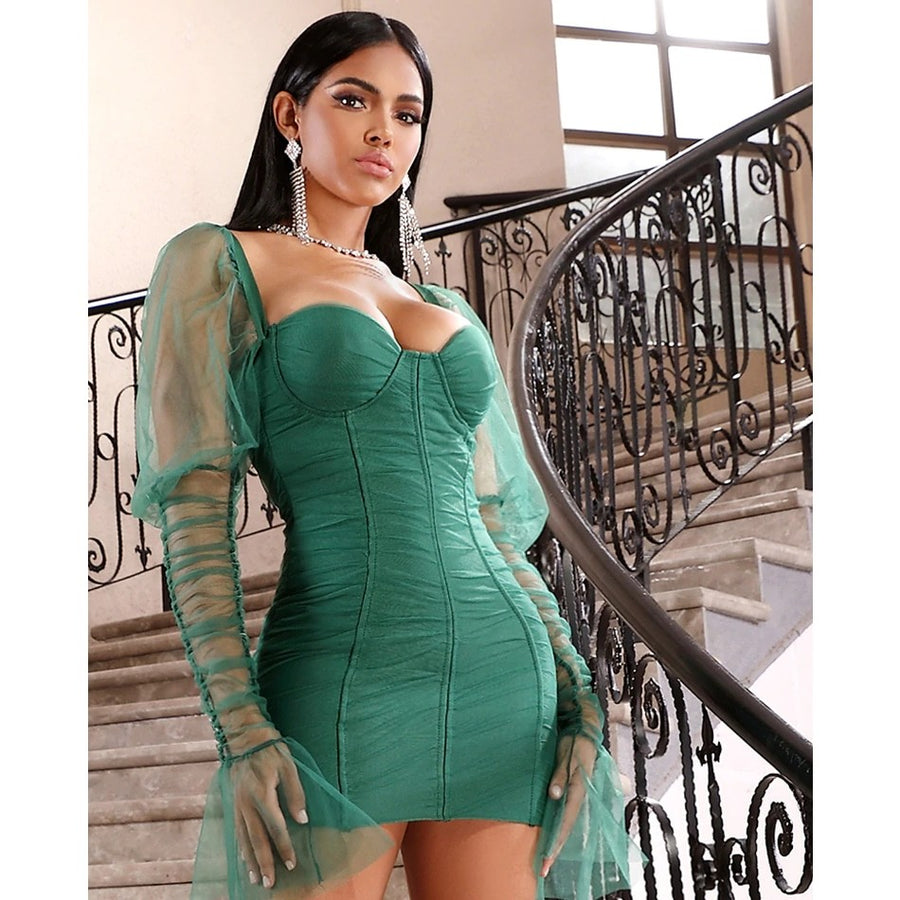 Green Lace Lantern Sleeve Mini Dress - Couture Look