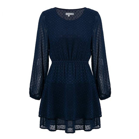 Image of Smitten Sally Navy Blue Chiffon Mini - Couture Look