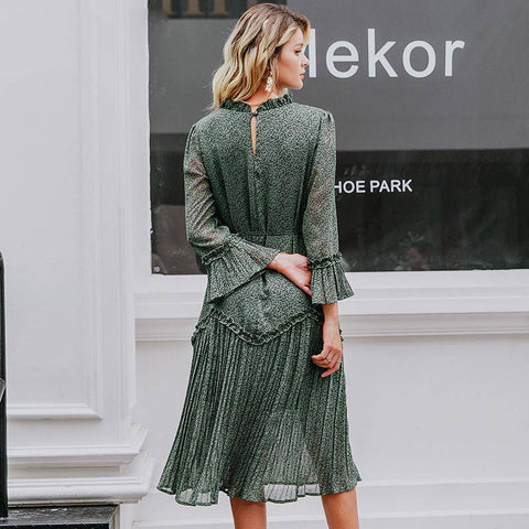 Belinda Blinked Dark Green Vintage Chiffon Dress - Couture Look