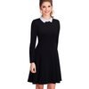 Ladylike Charming  Vintage Classic Turn-down Neck Dress