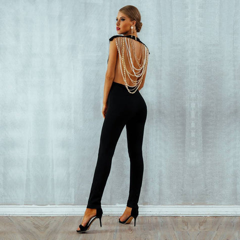 Image of Elegant  Sexy Pearl Chain Backless Jumpsuit