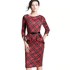 Vintage Tartan Pencil Fitted Dress