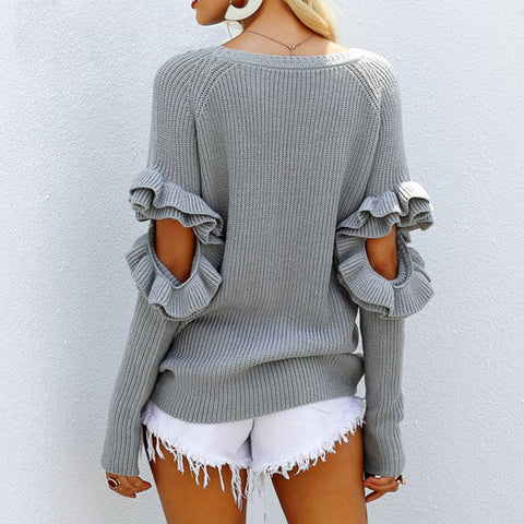 Ruffled Crazy Loose Pullovers - Couture Look