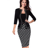 Faux Jacket Retro Polka Dots Bodycon Office Dress