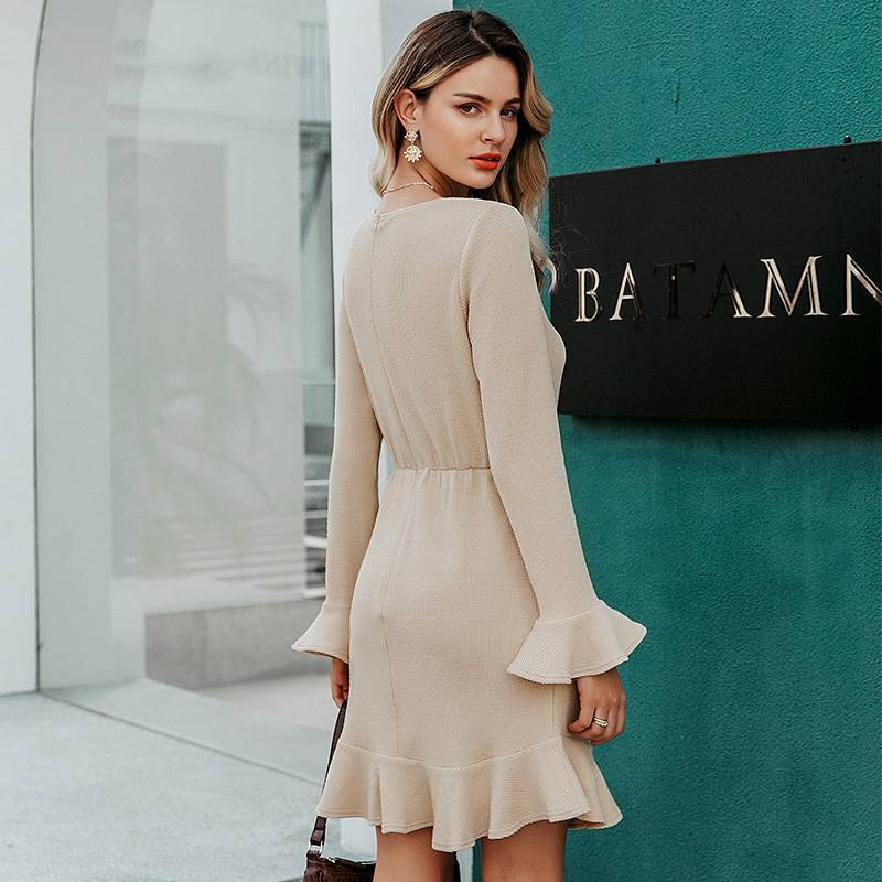 Classic Lina Apricot Ruffled Sweater Dress - Couture Look