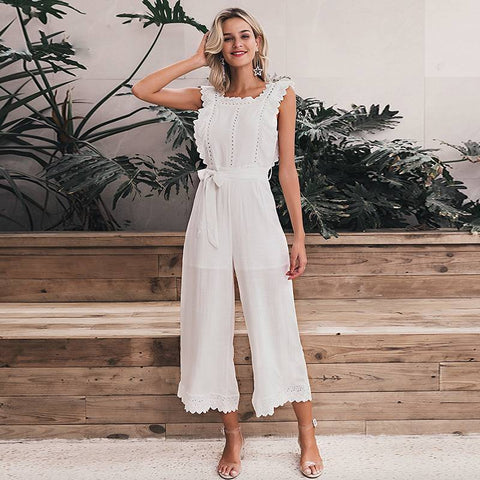 Grandiose Hollow Out Sashes Long Jumpsuit - Couture Look
