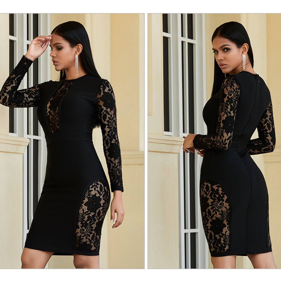 Elegant Long Sleeve Lace Bodycon Dress - Couture Look