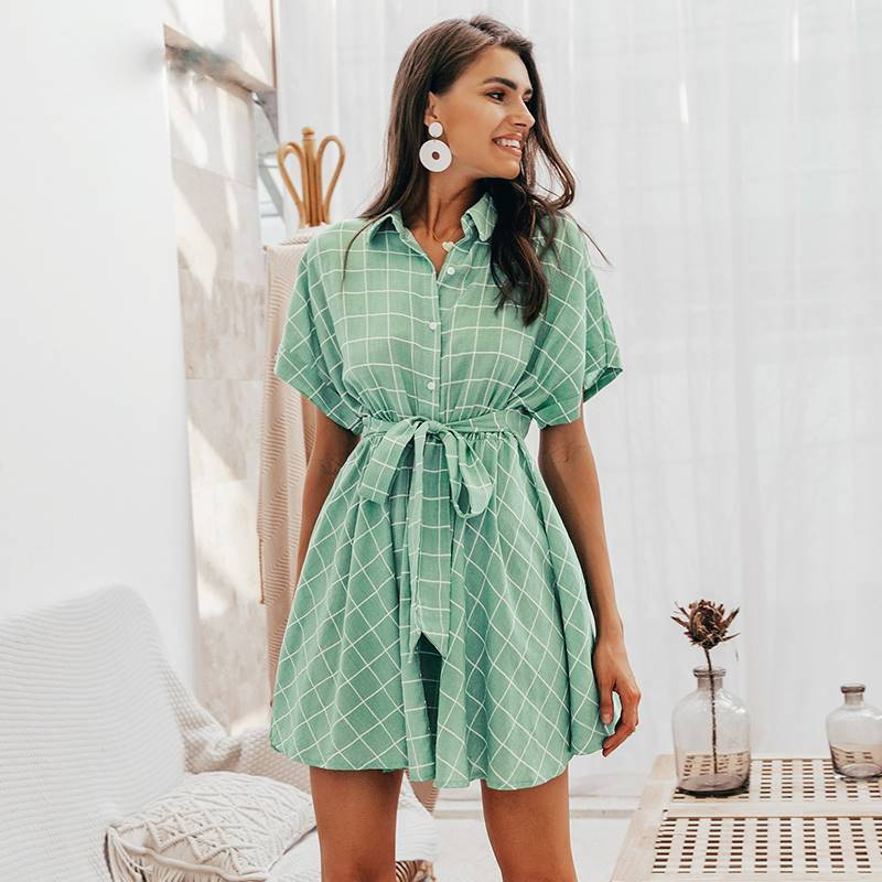 Lil Miss Perfect Light Green Plaid Short-sleeve A-line Dress - Couture Look