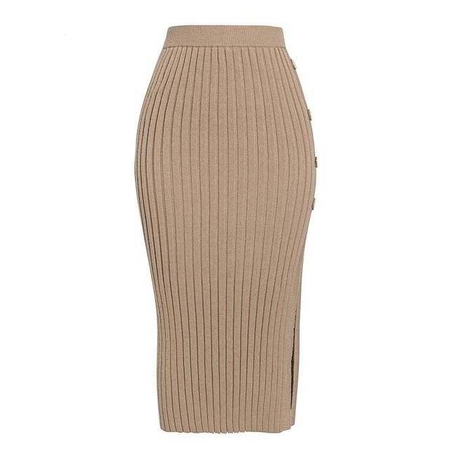 Sexy Side Split Button Knitted Skirt - Couture Look
