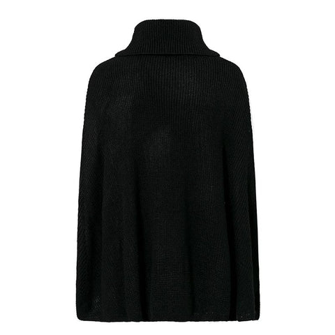 Image of Organic Style Knitted Cloak in Black - Couture Look