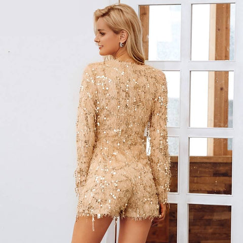 Image of Party All Night Champagne V-Neck Longsleeve Romper