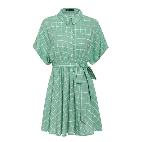 Image of Lil Miss Perfect Light Green Plaid Short-sleeve A-line Dress