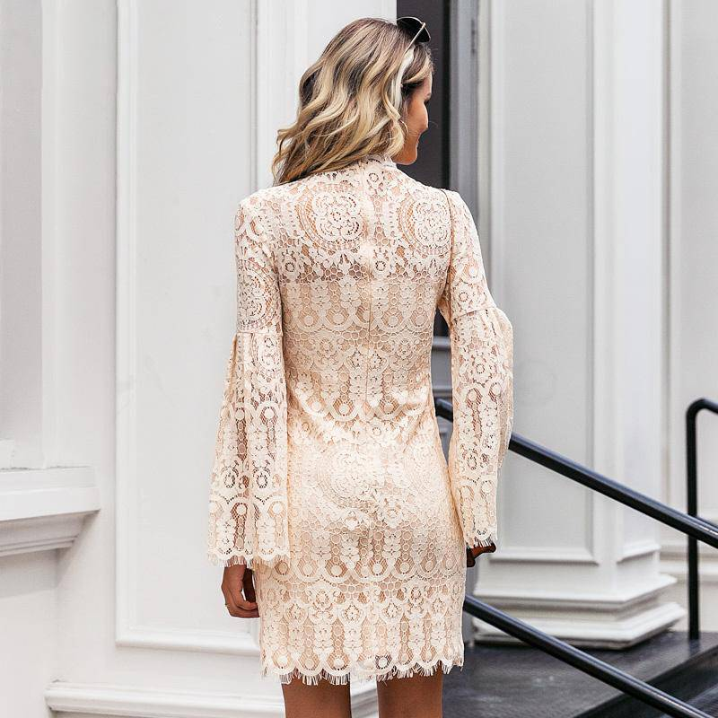 Victoria Light Apricot Long Sleeved Lace Mini - Couture Look