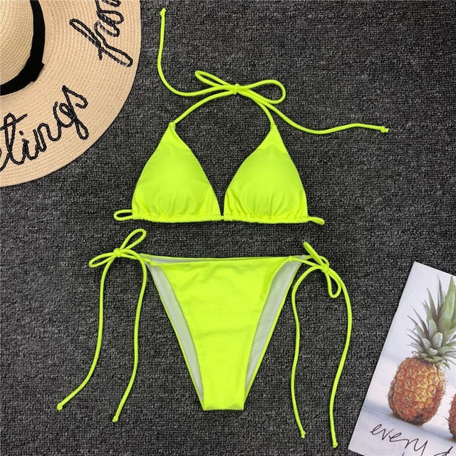 Neon Waves Low Rise String Bikini - Couture Look