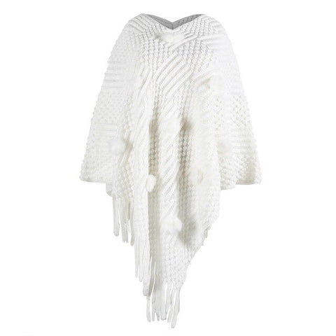 Image of Winter Wonderland Cape Overcoat Knitted Sweater - Couture Look