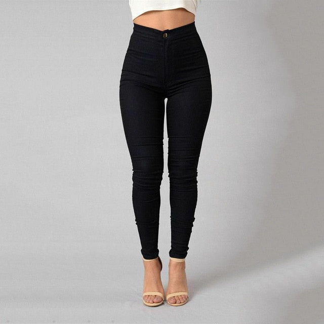 Fashionable High Waist Denim Skinny Pants - Couture Look