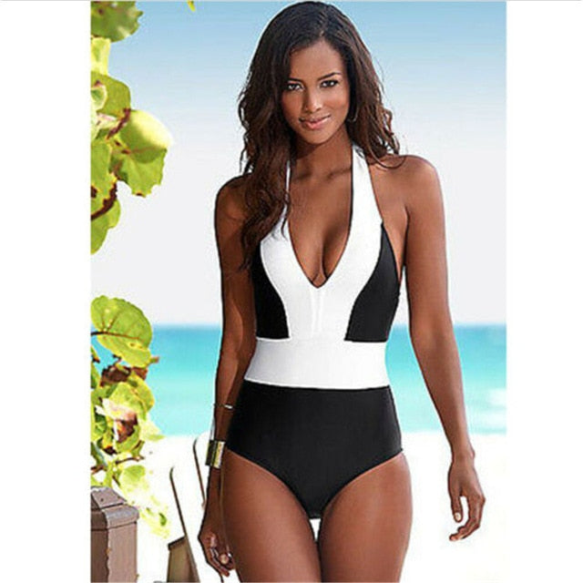 One Piece Halter Monokini Swimsuit - Couture Look