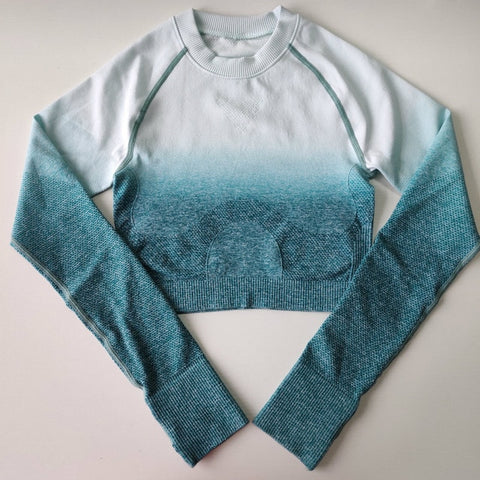 Image of Ombre Stylish Long Sleeve Seamless Sports Crop Top