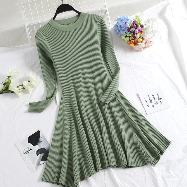 Casual Long Sleeve Sweater Dress - Couture Look