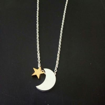 Crescent Moon And  Star Pendant Necklace - Couture Look