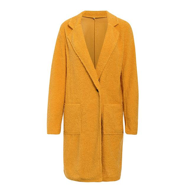 Vivid Yellow Faux Wool Long Coat - Couture Look