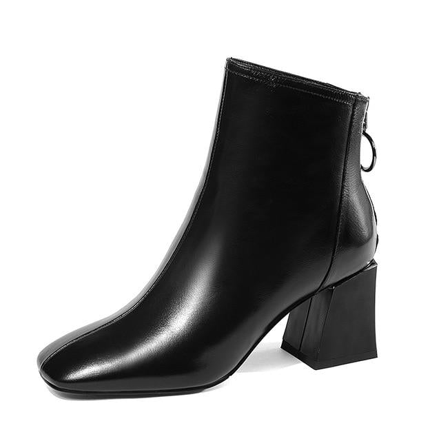 Snazzy Genuine Leather Ankle Boots - Couture Look