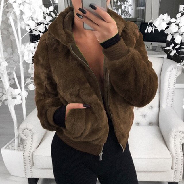 More Adventures Faux Fur Bomber Jacket