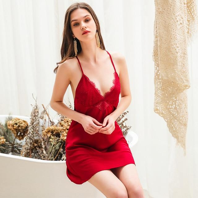 Deep V Sexy Lace  Spaghetti Strap Backless Nightwear - Couture Look