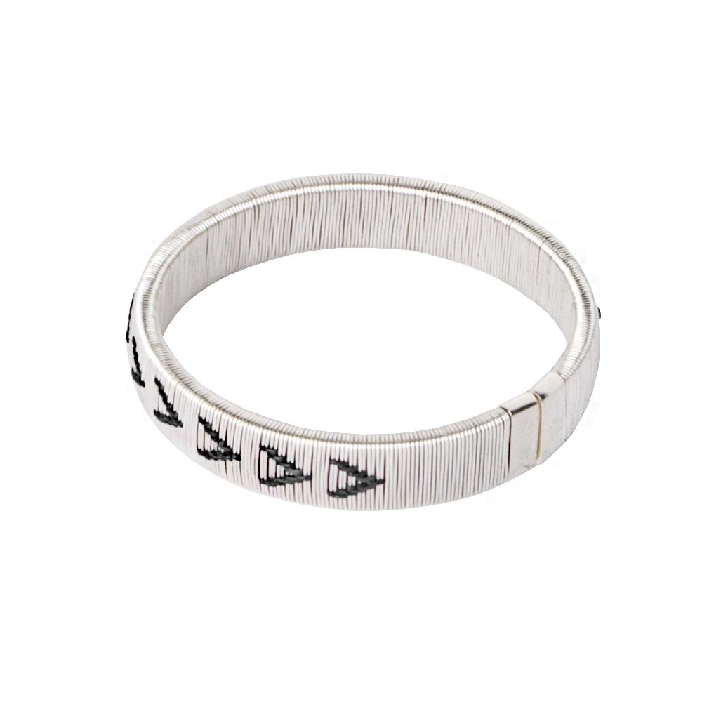 Woven Palm Bracelets - Silver HHPLIFT Silver and Black