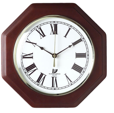 "Mahogany Octagon 12"" Quartz Clock HHPLIFT"