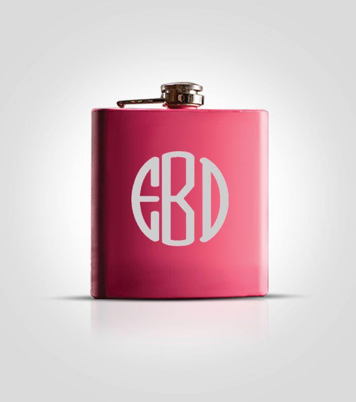 Single Pink Flask | #3 Monogram