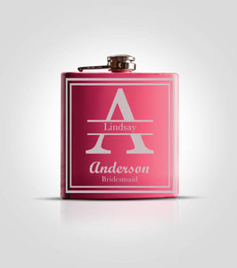 Single Pink Flask | Initials