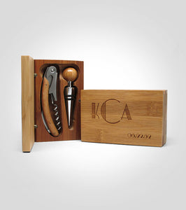 2pc Bamboo Wine Tool Set