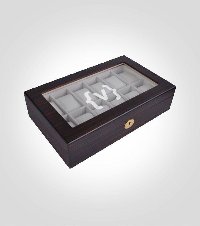 12pc Ebony Watch Box | Style 6