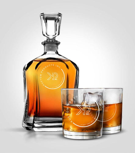 Flat Decanter Set | Custom Image