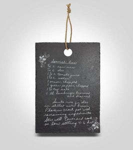Slate Hanging Recipe Board | Small with Holiday Border