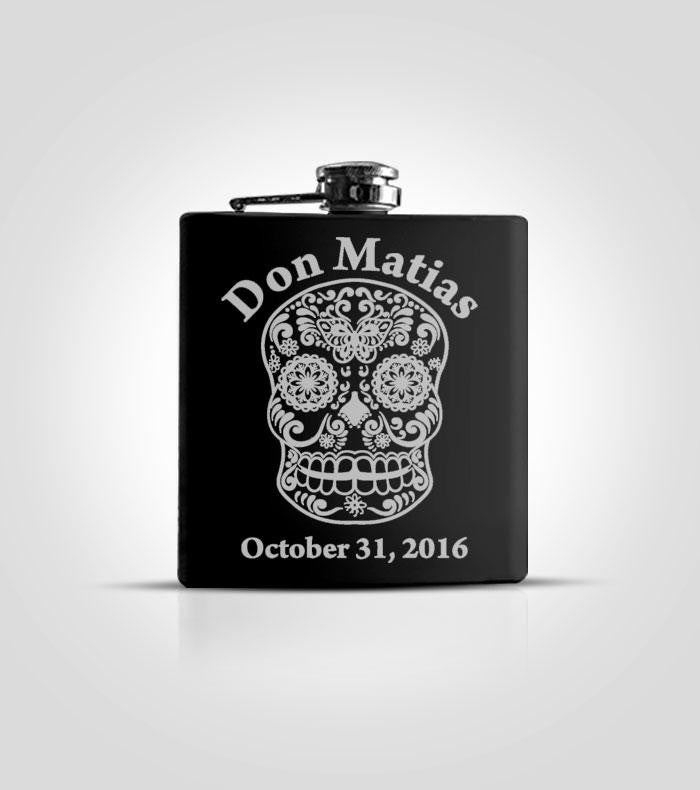 Single Black Flask | Skull