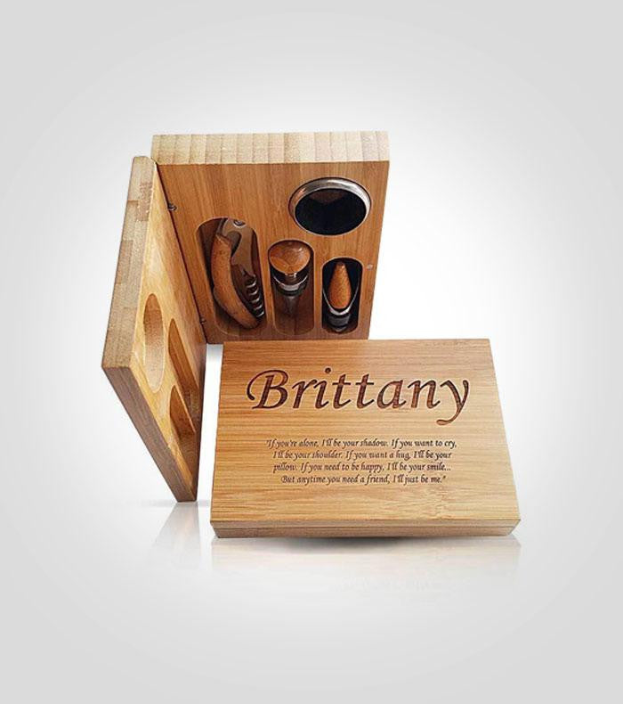 4pc Bamboo Wine Tool Set