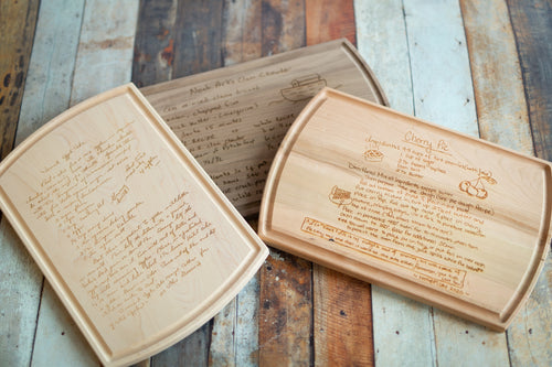 Chef's Family Recipe Cutting Board- Multiple Woods Available