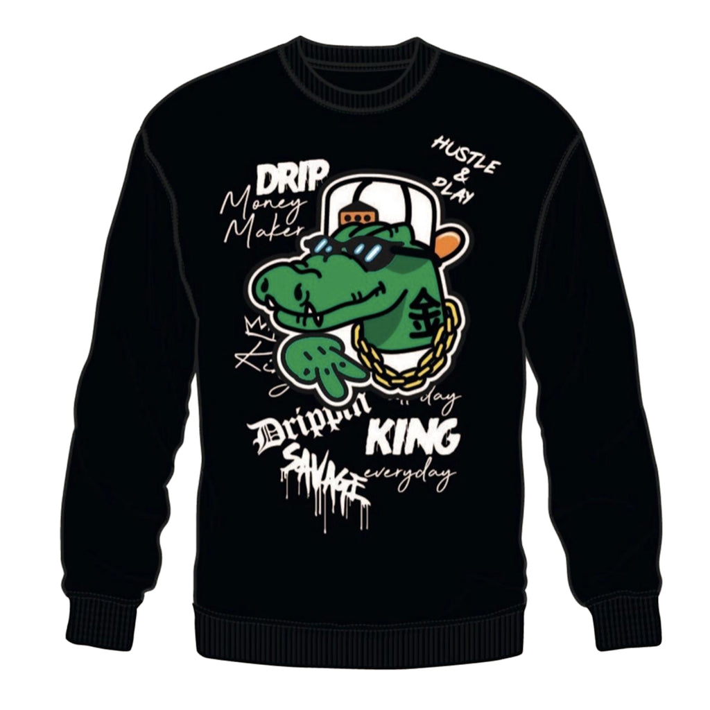"3 Forty Crewneck Sweatshirt ""Gator"" Black"
