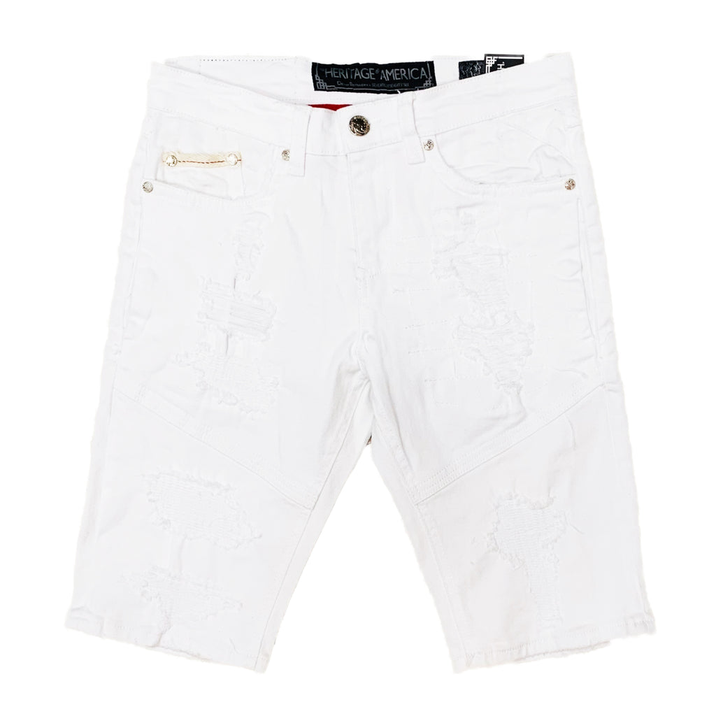 Heritage By America Denim Shorts HA-WB-804 White
