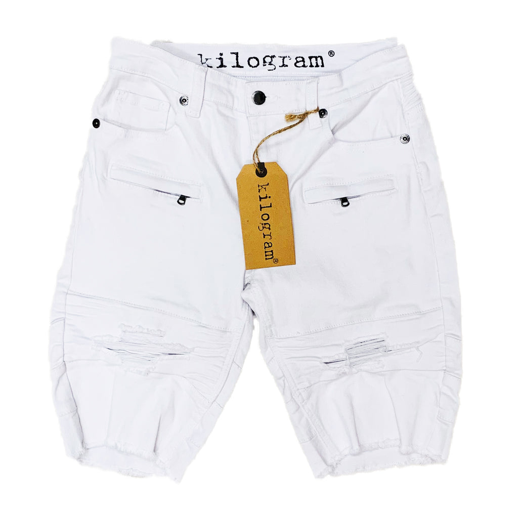 Kilogram Denim Shorts KG1804 Pure White