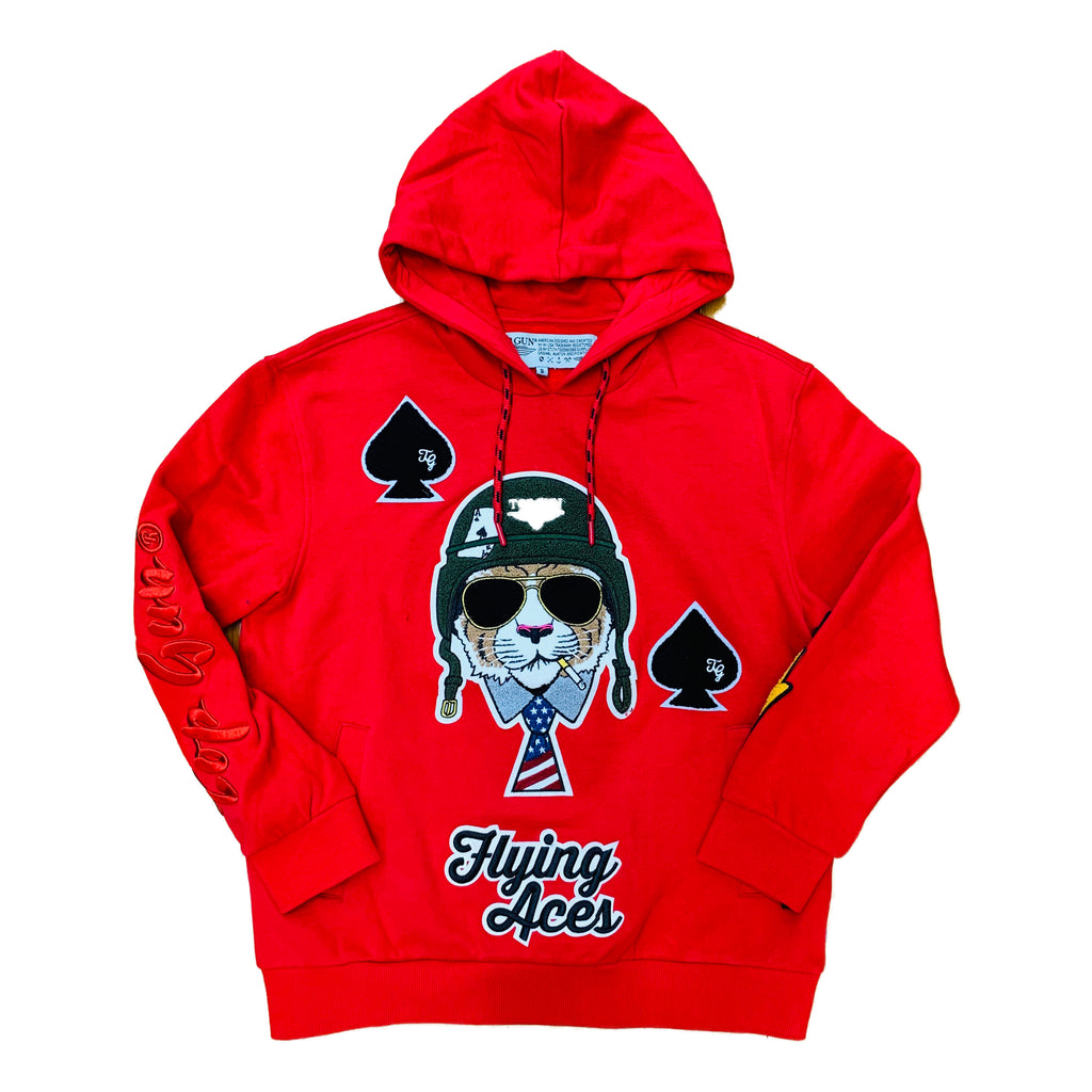 "Top Gun Pullover Hoody TGD1905 ""Flying Aces"" Red"