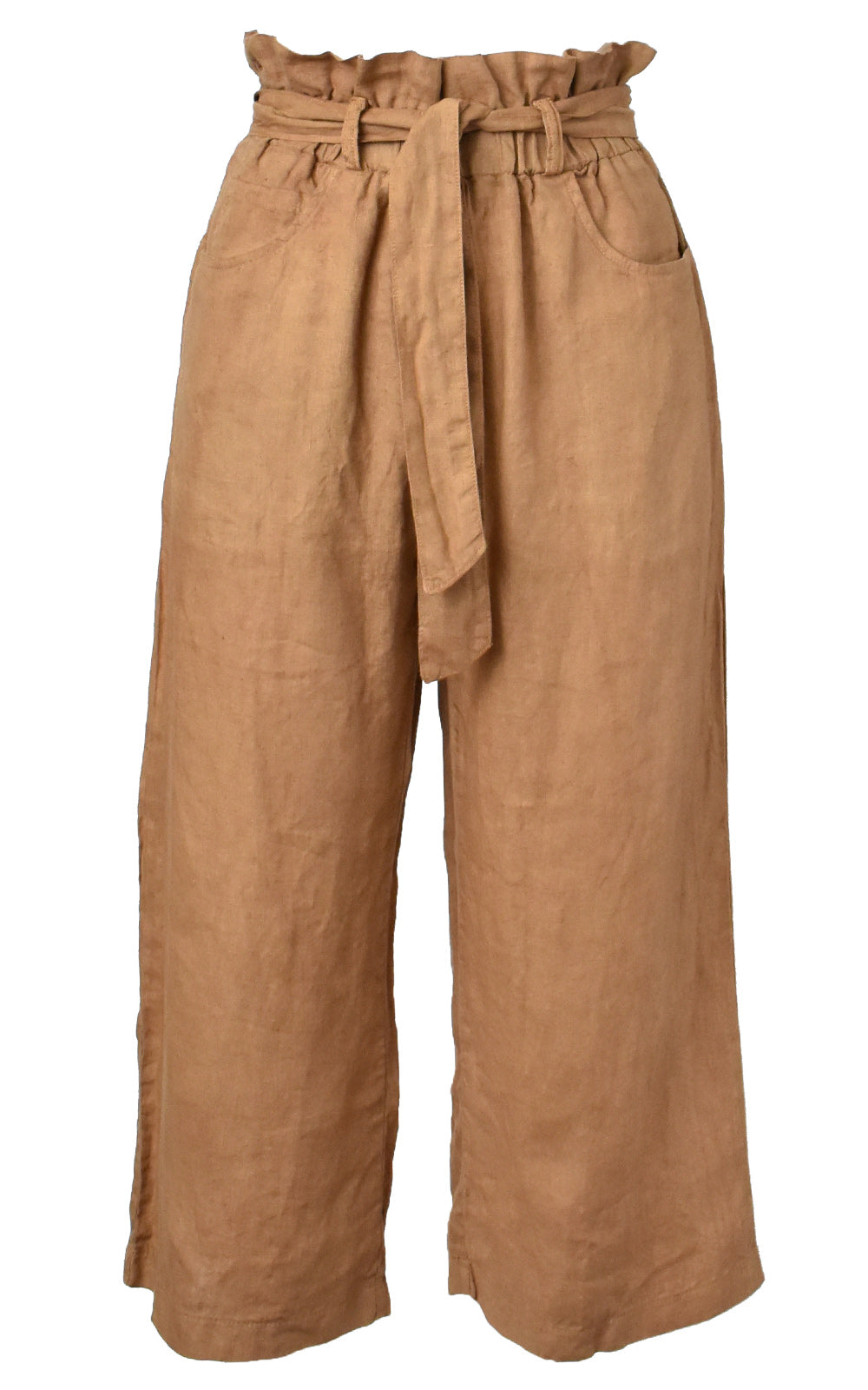Amadi Michaela Crop Waist Tie Camel Paper Bag Pants
