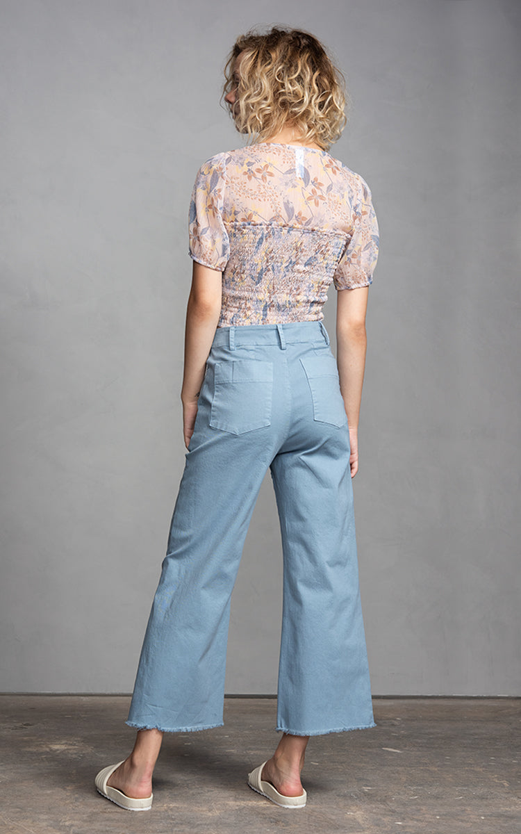Amadi Novia Aqua High Waisted Flared Crop Pants